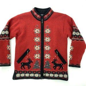 Icelandic Design Cardigan Wool Sweater Reindeer